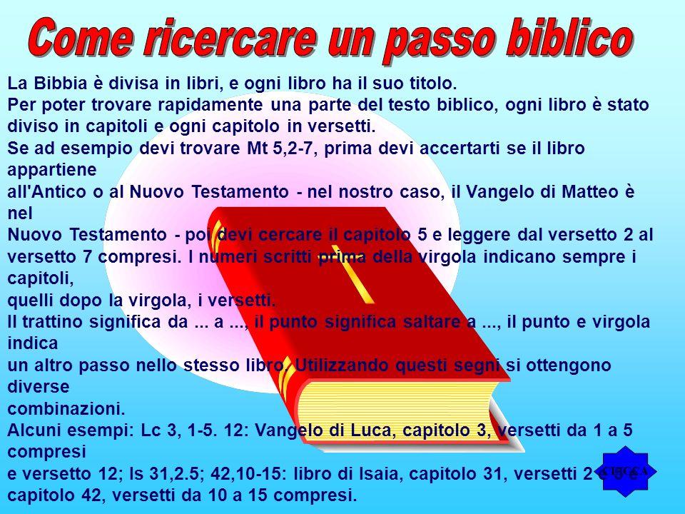 La Bibbia è divisa in libri, e ogni libro ha il suo titolo. Per poter trovare rapidamente una parte del testo biblico, ogni libro è stato diviso in ca
