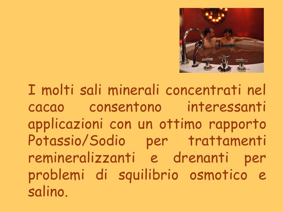 I molti sali minerali concentrati nel cacao consentono interessanti applicazioni con un ottimo rapporto Potassio/Sodio per trattamenti remineralizzant