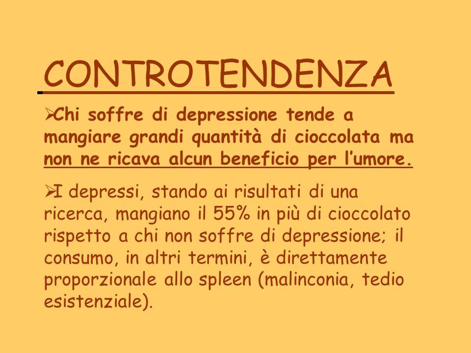 CONTROTENDENZA Chi soffre di depressione tende a mangiare grandi quantità di cioccolata ma non ne ricava alcun beneficio per lumore. I depressi, stand
