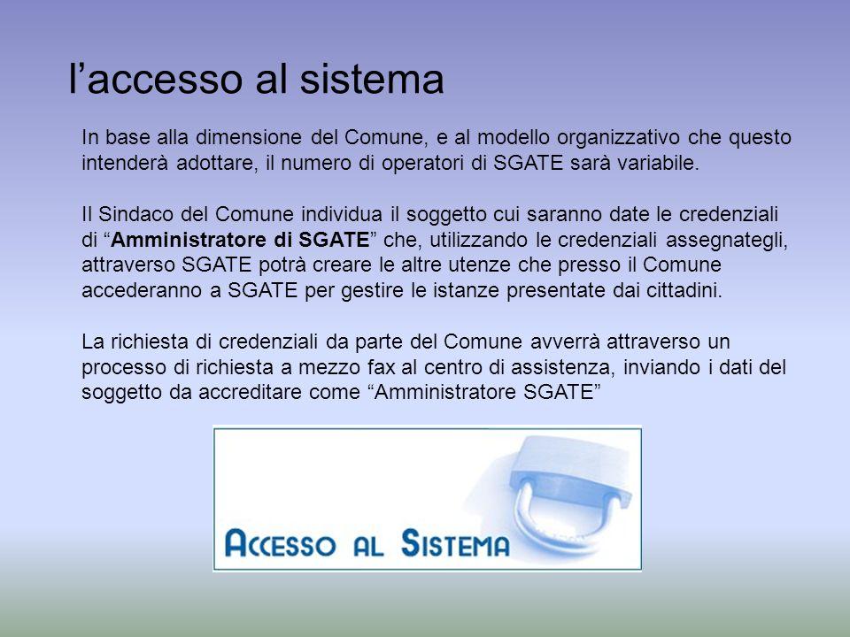 laccesso al sistema In base alla dimensione del Comune, e al modello organizzativo che questo intenderà adottare, il numero di operatori di SGATE sarà variabile.