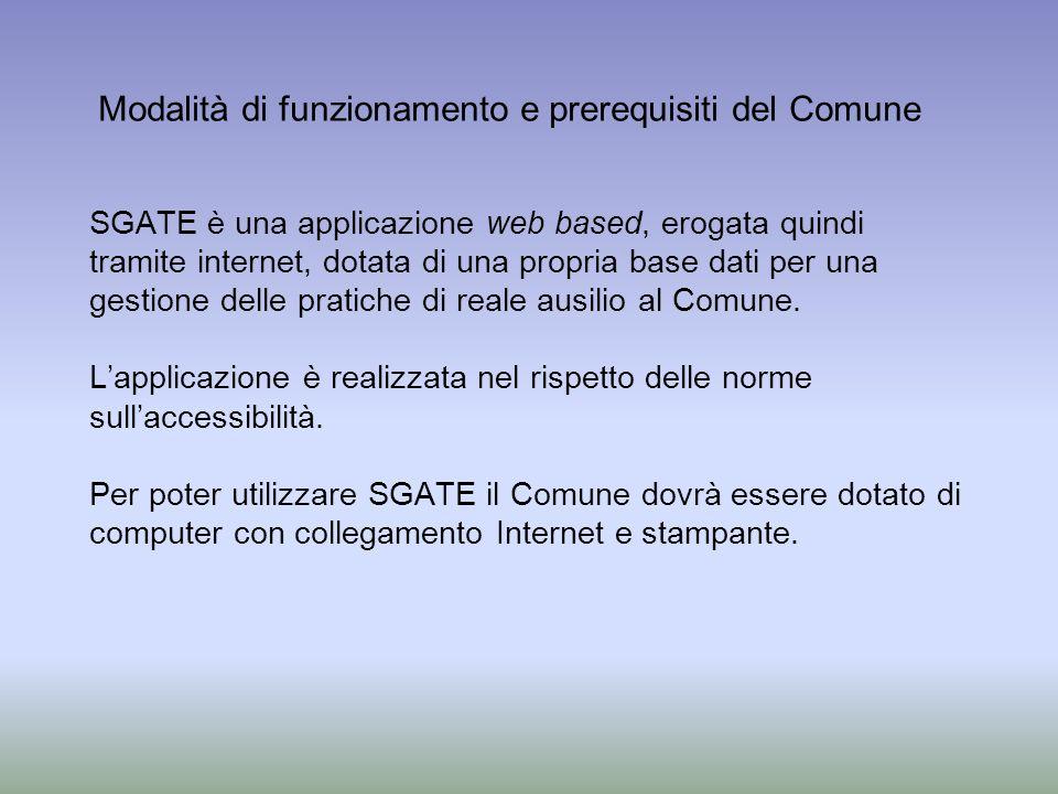 SGATE è una applicazione web based, erogata quindi tramite internet, dotata di una propria base dati per una gestione delle pratiche di reale ausilio al Comune.