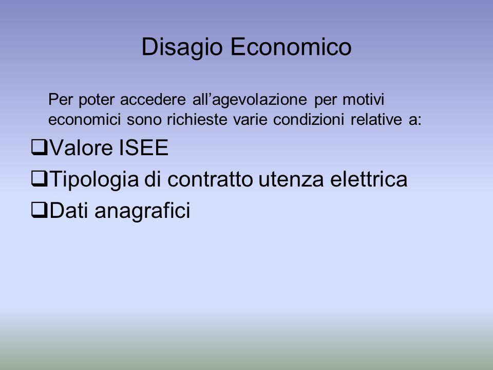 Disagio Economico Per poter accedere allagevolazione per motivi economici sono richieste varie condizioni relative a: Valore ISEE Tipologia di contratto utenza elettrica Dati anagrafici