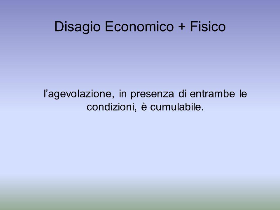 Disagio Economico + Fisico lagevolazione, in presenza di entrambe le condizioni, è cumulabile.