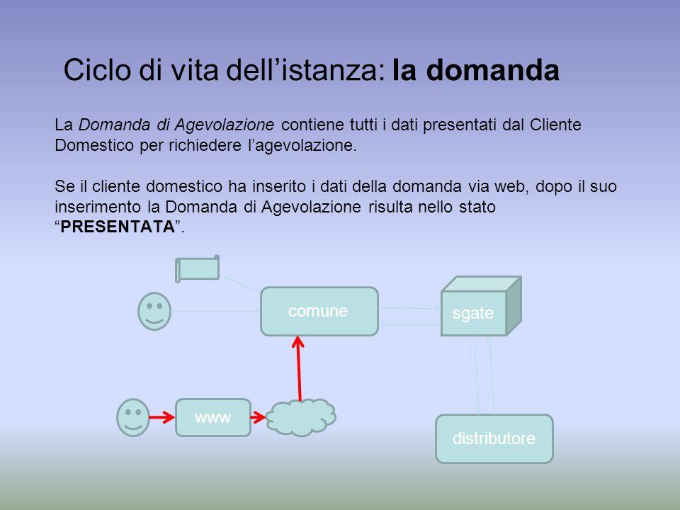 La Domanda di Agevolazione contiene tutti i dati presentati dal Cliente Domestico per richiedere lagevolazione.
