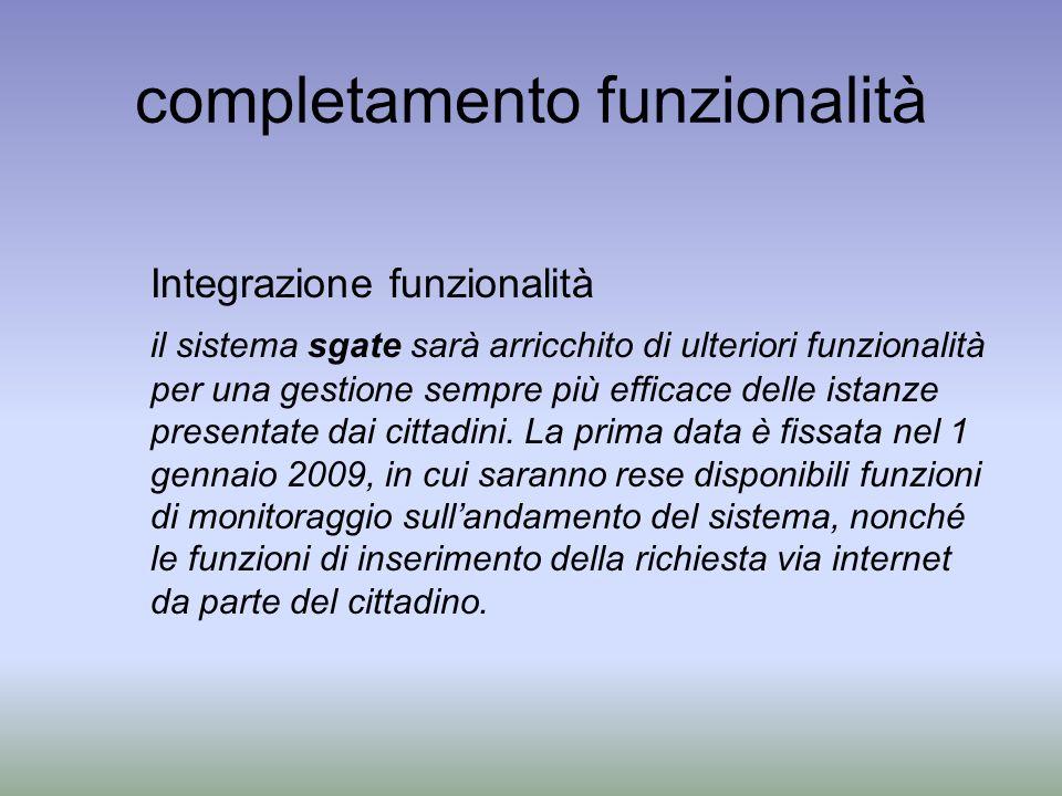 completamento funzionalità Integrazione funzionalità il sistema sgate sarà arricchito di ulteriori funzionalità per una gestione sempre più efficace delle istanze presentate dai cittadini.