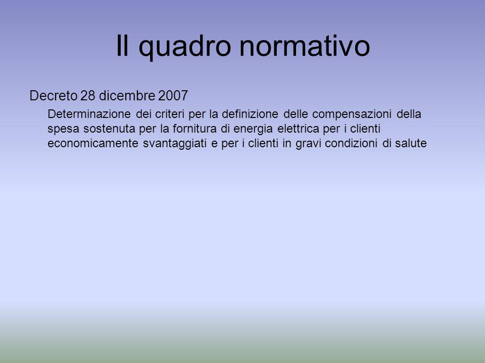 Il quadro normativo Decreto 28 dicembre 2007 Determinazione dei criteri per la definizione delle compensazioni della spesa sostenuta per la fornitura di energia elettrica per i clienti economicamente svantaggiati e per i clienti in gravi condizioni di salute