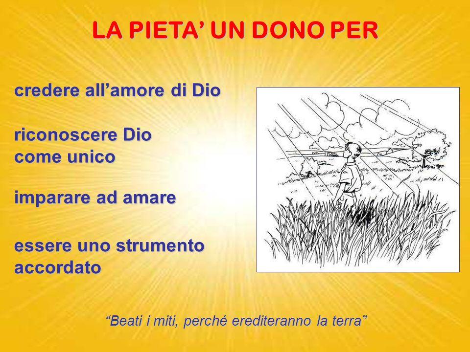 PIETA dal latino pietas = amore dei figli verso il padre Voglio lamore e non il sacrificio, la conoscenza di Dio più degli olocausti. Osea 6,6