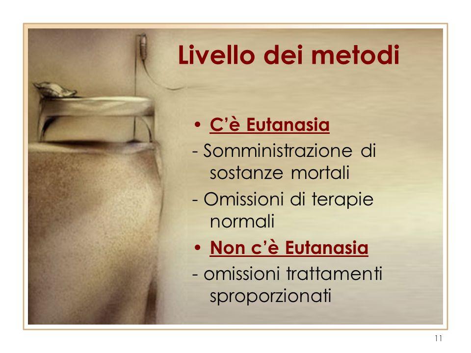11 Livello dei metodi Cè Eutanasia - Somministrazione di sostanze mortali - Omissioni di terapie normali Non cè Eutanasia - omissioni trattamenti spro