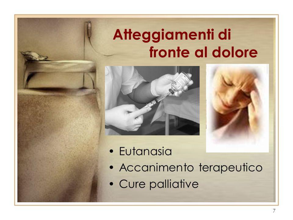 7 Eutanasia Accanimento terapeutico Cure palliative Atteggiamenti di fronte al dolore