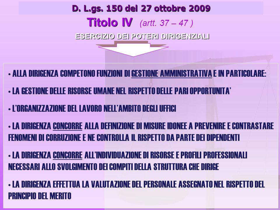 ESERCIZIO DEI POTERI DIRIGENZIALI D. L.gs. 150 del 27 ottobre 2009 Titolo IV Titolo IV (artt.