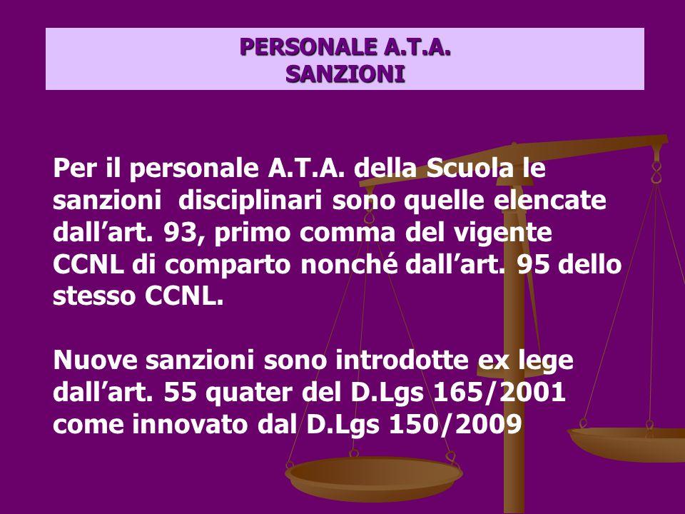 PERSONALE A.T.A. SANZIONI Per il personale A.T.A.
