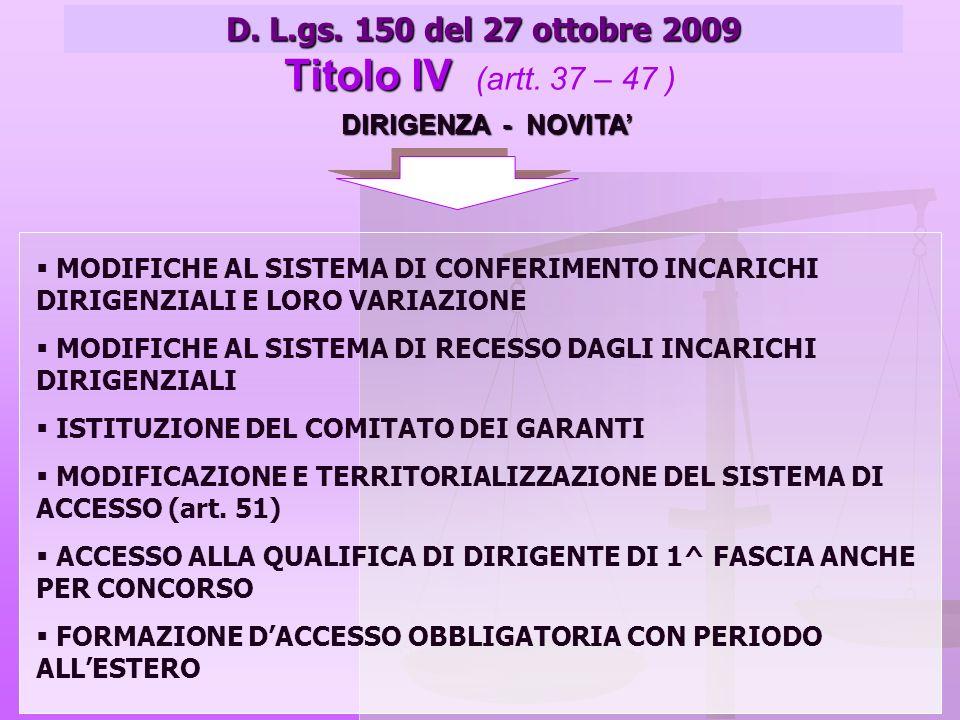 DIRIGENZA - NOVITA D. L.gs. 150 del 27 ottobre 2009 Titolo IV Titolo IV (artt.