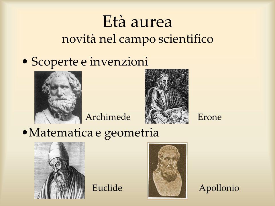 Età aurea novità nel campo scientifico Scoperte e invenzioni Archimede Erone Euclide Apollonio Matematica e geometria