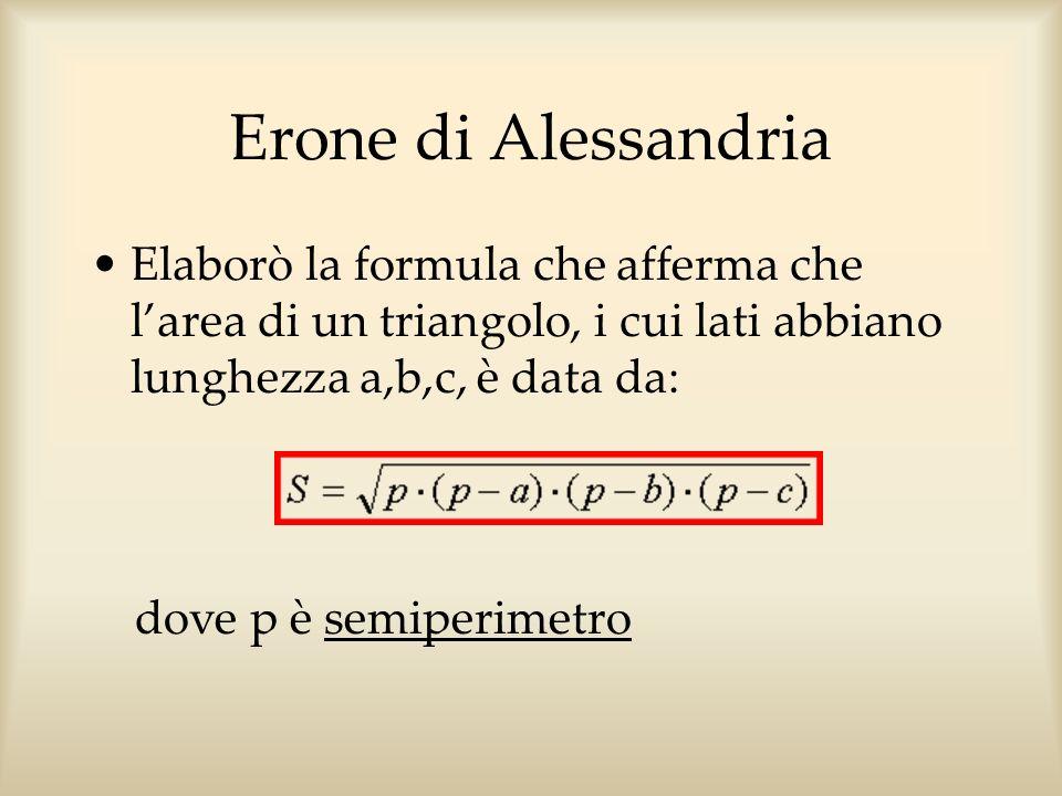 Erone di Alessandria Elaborò la formula che afferma che larea di un triangolo, i cui lati abbiano lunghezza a,b,c, è data da: dove p è semiperimetro