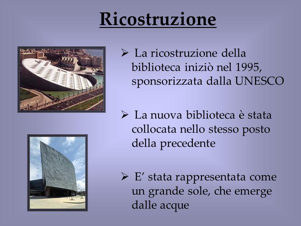 Ricostruzione La ricostruzione della biblioteca iniziò nel 1995, sponsorizzata dalla UNESCO La nuova biblioteca è stata collocata nello stesso posto d