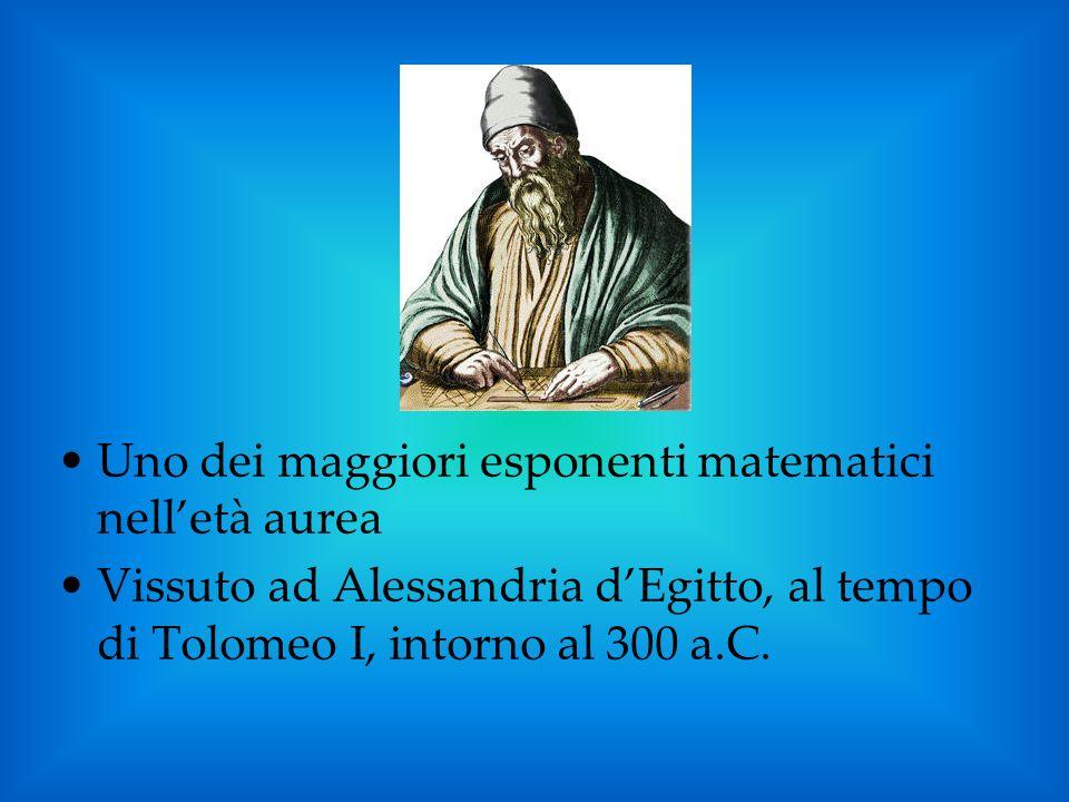 Uno dei maggiori esponenti matematici nelletà aurea Vissuto ad Alessandria dEgitto, al tempo di Tolomeo I, intorno al 300 a.C.