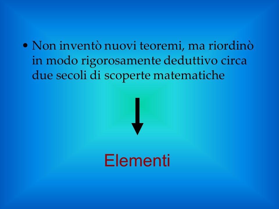 Non inventò nuovi teoremi, ma riordinò in modo rigorosamente deduttivo circa due secoli di scoperte matematiche Elementi