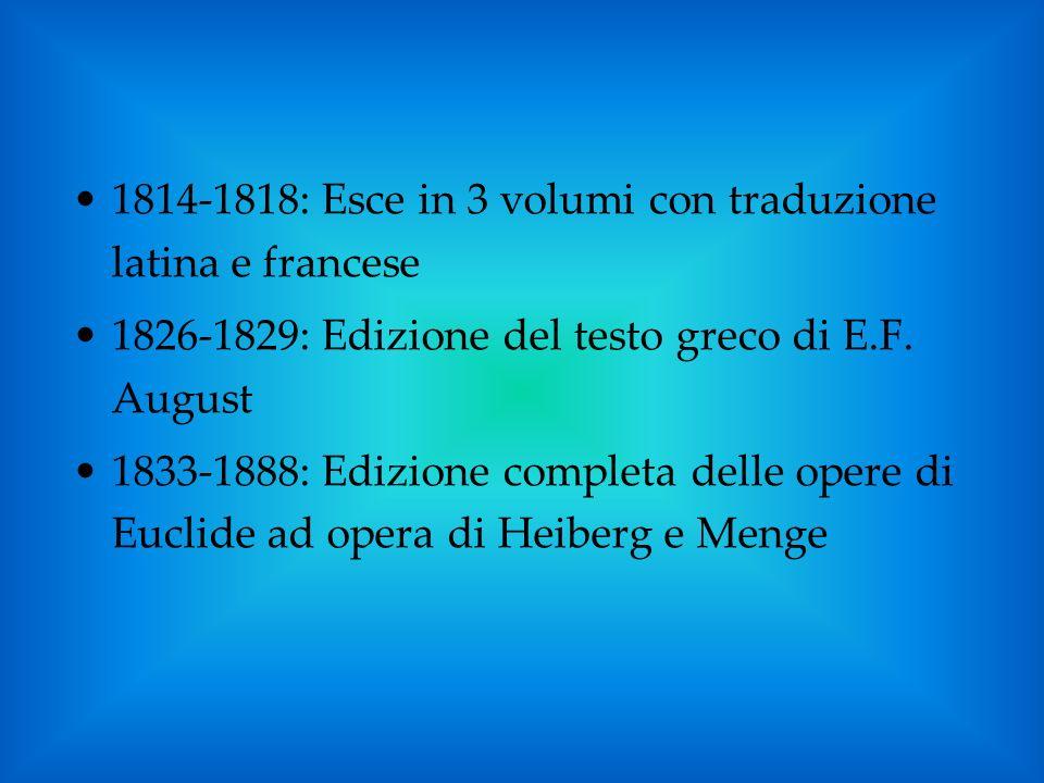 1814-1818: Esce in 3 volumi con traduzione latina e francese 1826-1829: Edizione del testo greco di E.F. August 1833-1888: Edizione completa delle ope