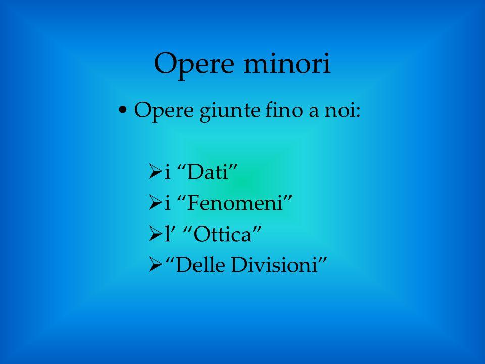 Opere minori Opere giunte fino a noi: i Dati i Fenomeni l Ottica Delle Divisioni