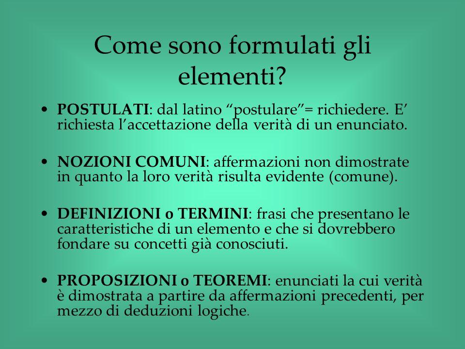 Come sono formulati gli elementi? POSTULATI: dal latino postulare= richiedere. E richiesta laccettazione della verità di un enunciato. NOZIONI COMUNI: