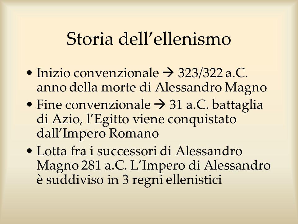 Storia dellellenismo Inizio convenzionale 323/322 a.C. anno della morte di Alessandro Magno Fine convenzionale 31 a.C. battaglia di Azio, lEgitto vien