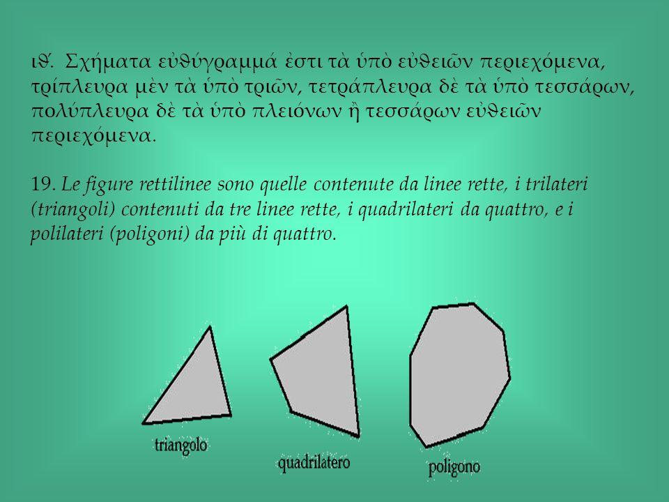 ιϑ́. Σχήματα εϑύγραμμά στι τ π εϑειν περιεχόμενα, τρίπλευρα μν τ π τριν, τετράπλευρα δ τ π τεσσάρων, πολύπλευρα δ τ π πλειόνων τεσσάρων εϑειν περιεχόμ