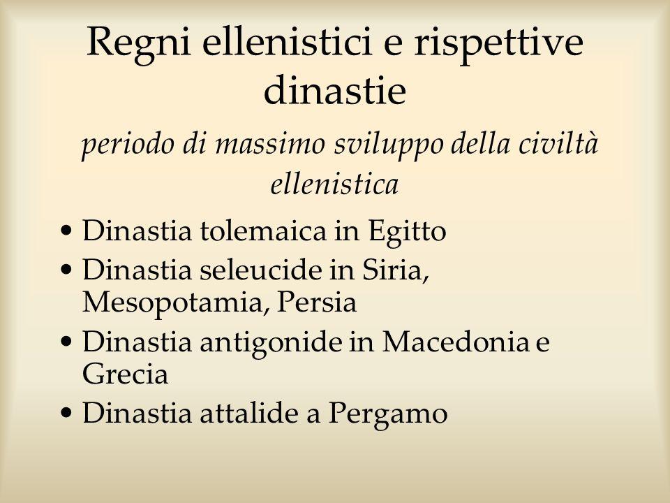 Regni ellenistici e rispettive dinastie periodo di massimo sviluppo della civiltà ellenistica Dinastia tolemaica in Egitto Dinastia seleucide in Siria