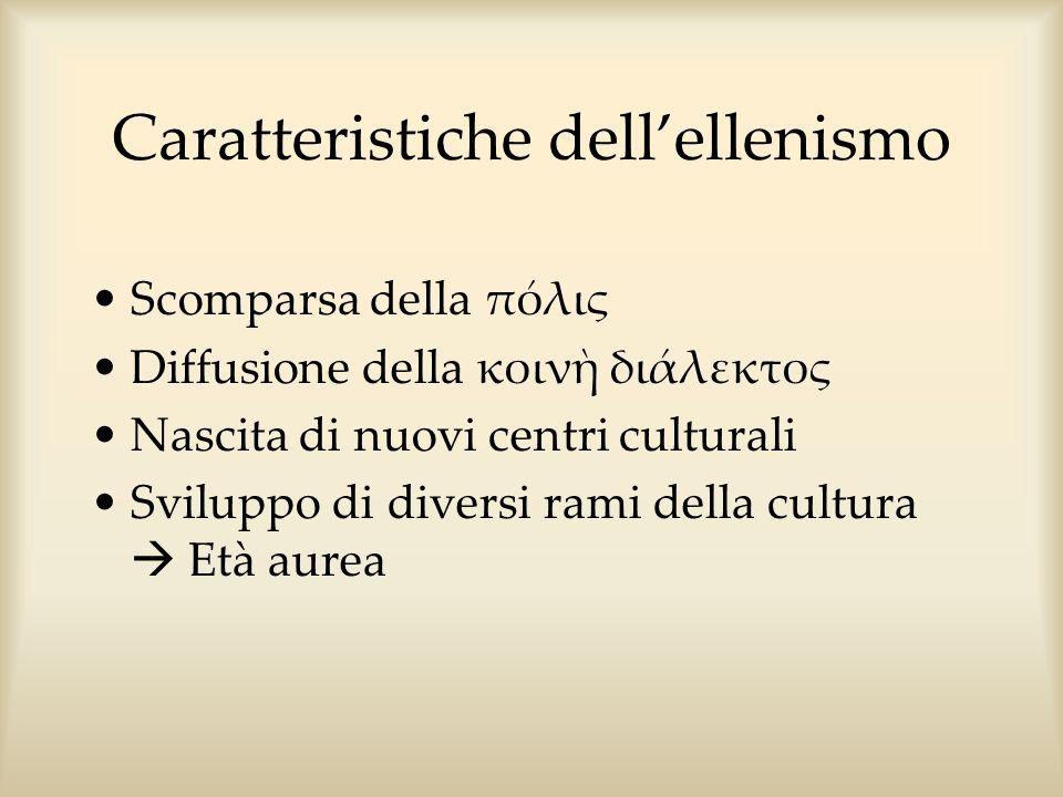 Caratteristiche dellellenismo Scomparsa della πόλις Diffusione della κοιν διάλεκτος Nascita di nuovi centri culturali Sviluppo di diversi rami della c