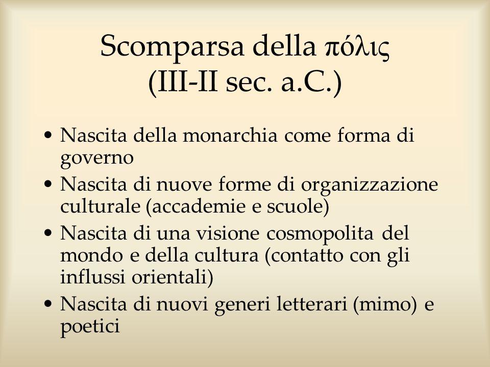 Scomparsa della πόλις (III-II sec. a.C.) Nascita della monarchia come forma di governo Nascita di nuove forme di organizzazione culturale (accademie e