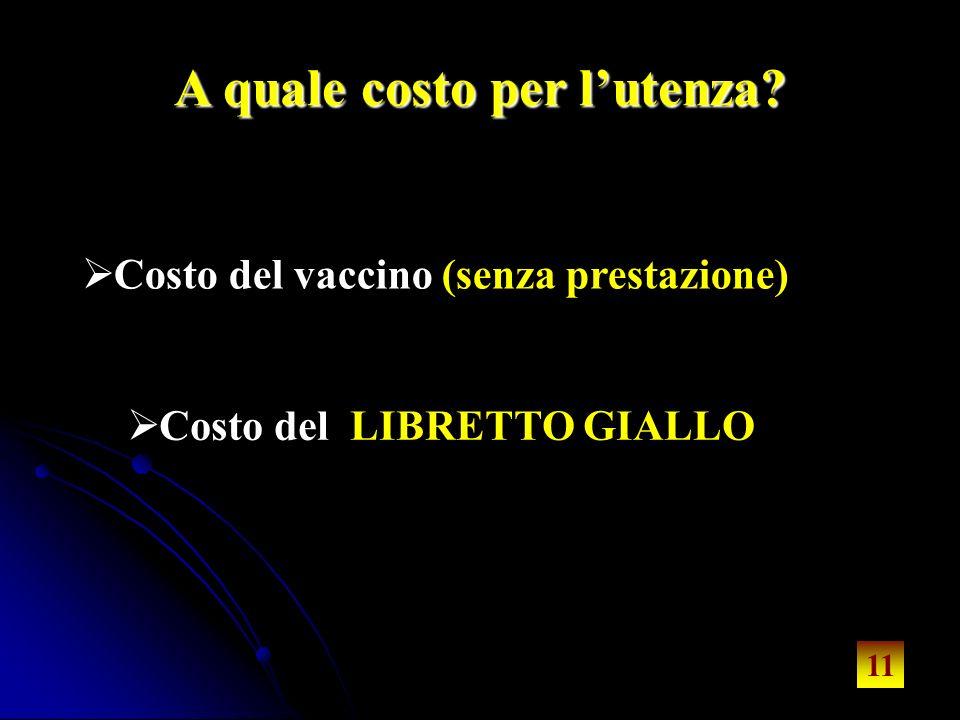 11 A quale costo per lutenza? Costo del vaccino (senza prestazione) Costo del LIBRETTO GIALLO 11
