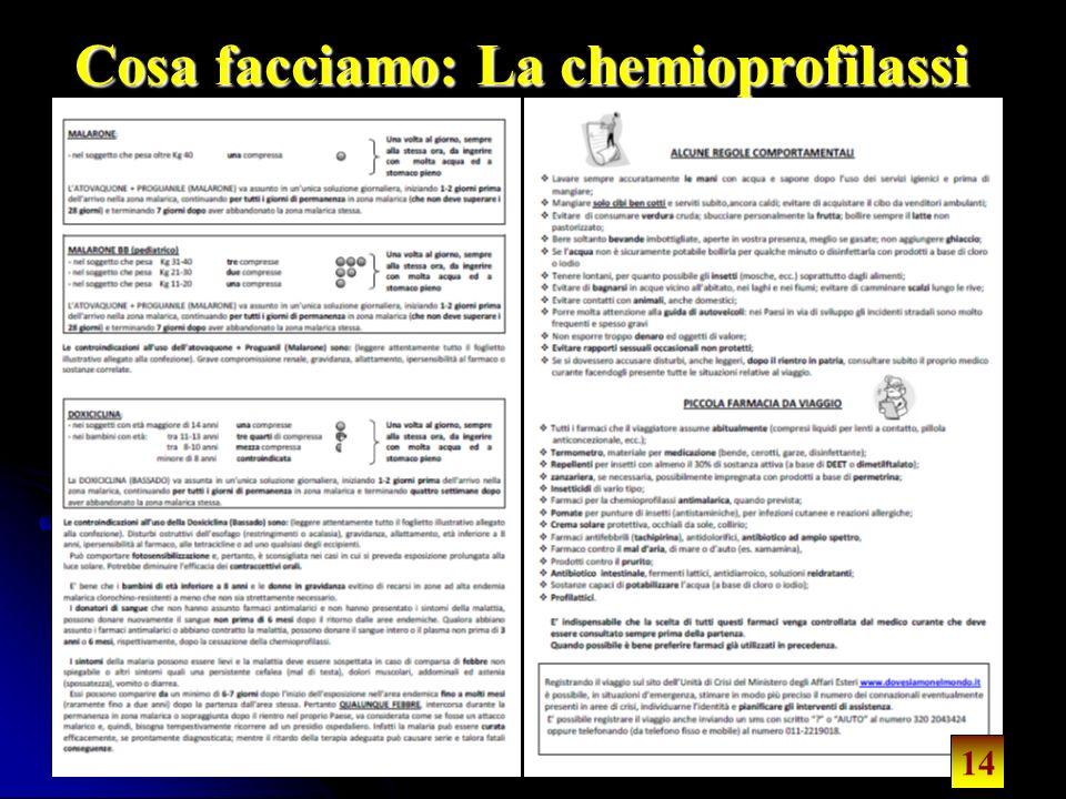 14 Cosa facciamo: La chemioprofilassi 14