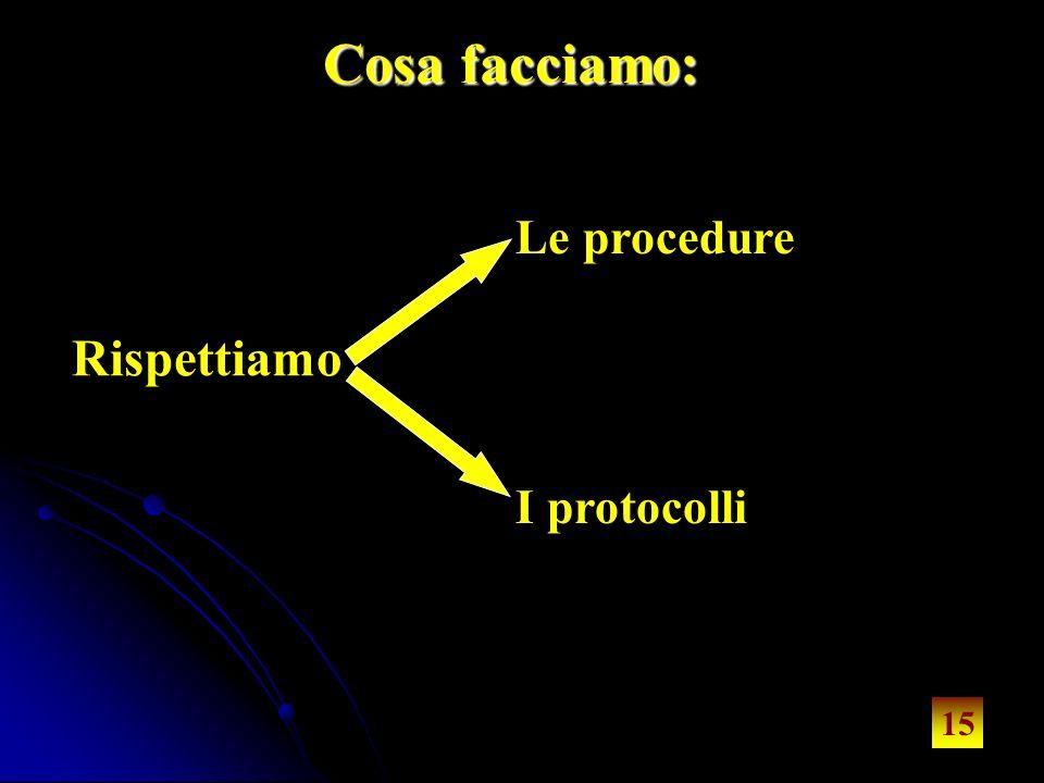 15 Cosa facciamo: Rispettiamo Le procedure I protocolli 15