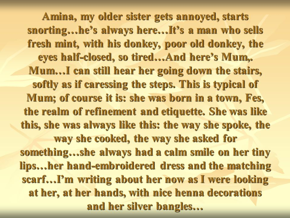 Amina, my older sister gets annoyed, starts snorting…hes always here…Its a man who sells fresh mint, with his donkey, poor old donkey, the eyes half-closed, so tired…And heres Mum,.