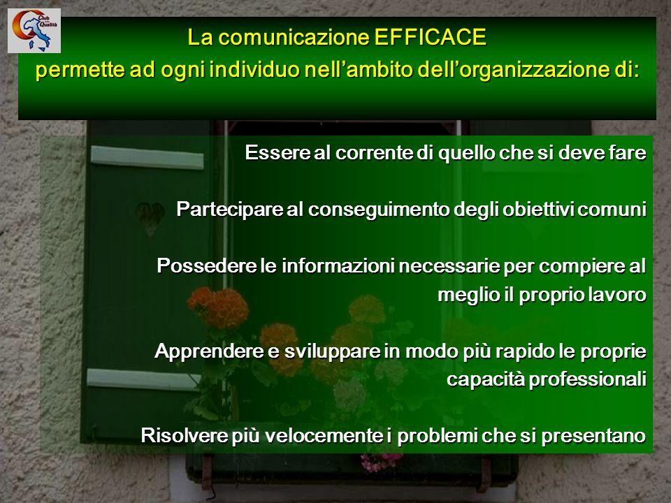 103 Essere al corrente di quello che si deve fare Partecipare al conseguimento degli obiettivi comuni Possedere le informazioni necessarie per compier