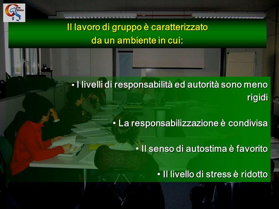 112 Il lavoro di gruppo è caratterizzato da un ambiente in cui: I livelli di responsabilità ed autorità sono meno rigidi I livelli di responsabilità e