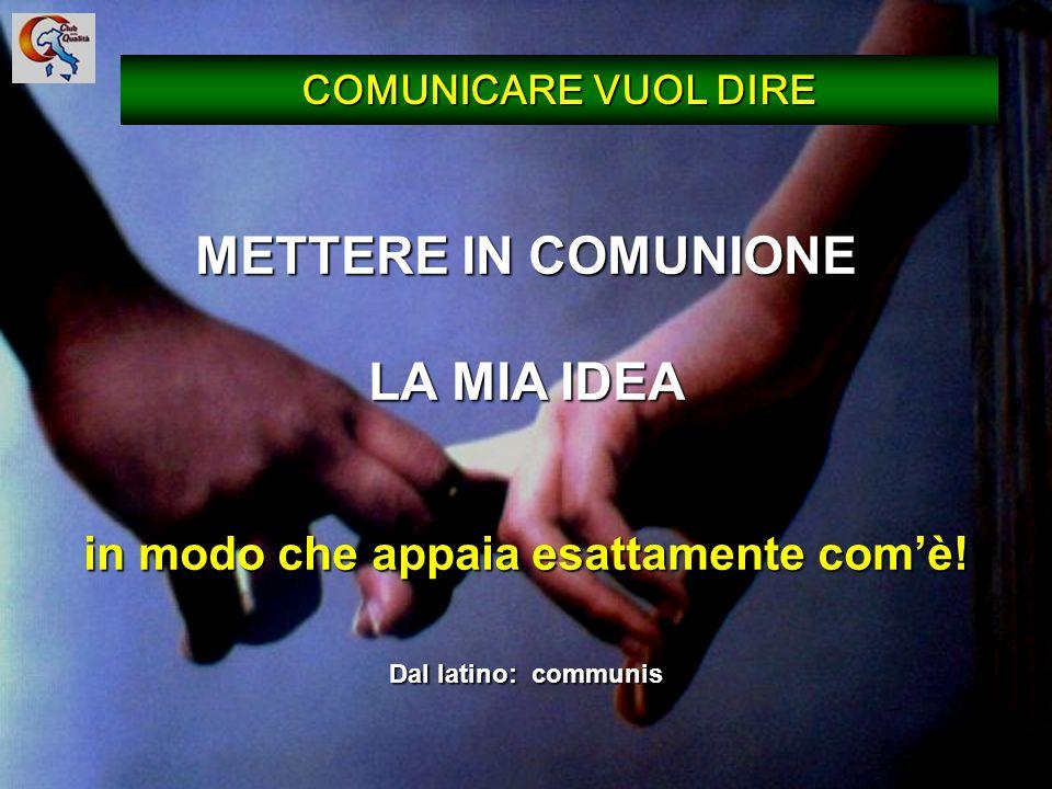 12 METTERE IN COMUNIONE LA MIA IDEA in modo che appaia esattamente comè! Dal latino: communis COMUNICARE VUOL DIRE