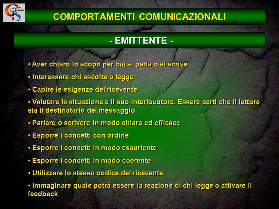 47 COMPORTAMENTI COMUNICAZIONALI Aver chiaro lo scopo per cui si parla o si scrive Aver chiaro lo scopo per cui si parla o si scrive Interessare chi a