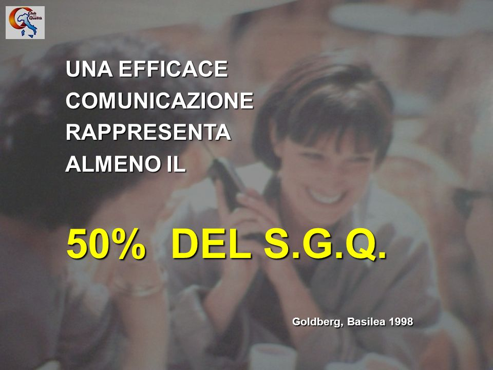 8 UNA EFFICACE COMUNICAZIONERAPPRESENTA ALMENO IL 50% DEL S.G.Q. Goldberg, Basilea 1998 Goldberg, Basilea 1998