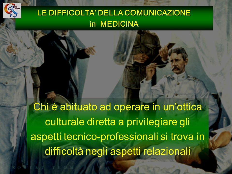 85 LE DIFFICOLTA DELLA COMUNICAZIONE in MEDICINA Chi è abituato ad operare in unottica culturale diretta a privilegiare gli aspetti tecnico-profession
