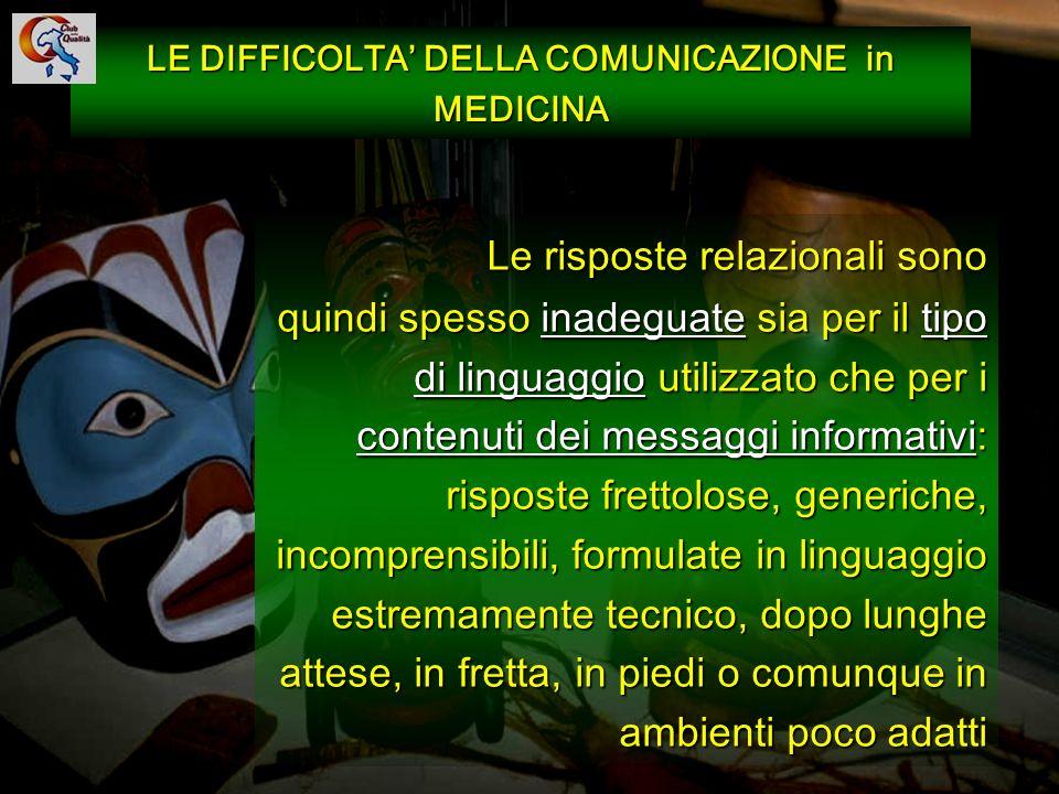 88 LE DIFFICOLTA DELLA COMUNICAZIONE in MEDICINA Le risposte relazionali sono quindi spesso inadeguate sia per il tipo di linguaggio utilizzato che pe