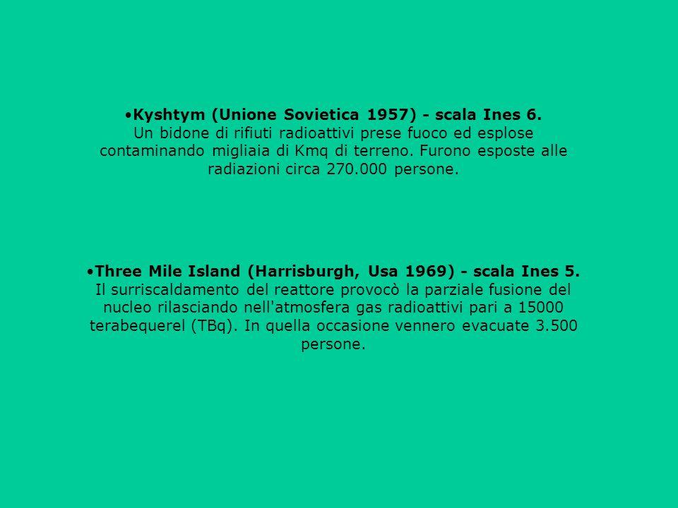 Kyshtym (Unione Sovietica 1957) - scala Ines 6. Un bidone di rifiuti radioattivi prese fuoco ed esplose contaminando migliaia di Kmq di terreno. Furon