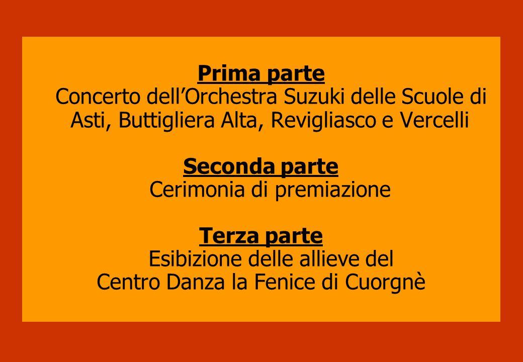 Prima parte Concerto dellOrchestra Suzuki delle Scuole di Asti, Buttigliera Alta, Revigliasco e Vercelli Seconda parte Cerimonia di premiazione Terza