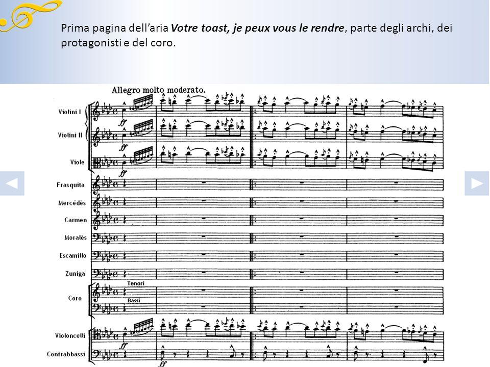 Prima pagina dellaria Votre toast, je peux vous le rendre, parte dei fiati e delle percussioni