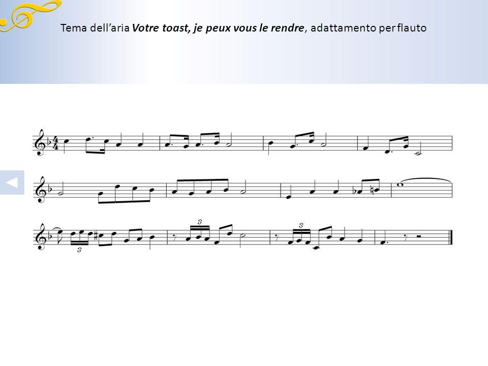 Prima pagina dellaria Votre toast, je peux vous le rendre, parte degli archi, dei protagonisti e del coro.