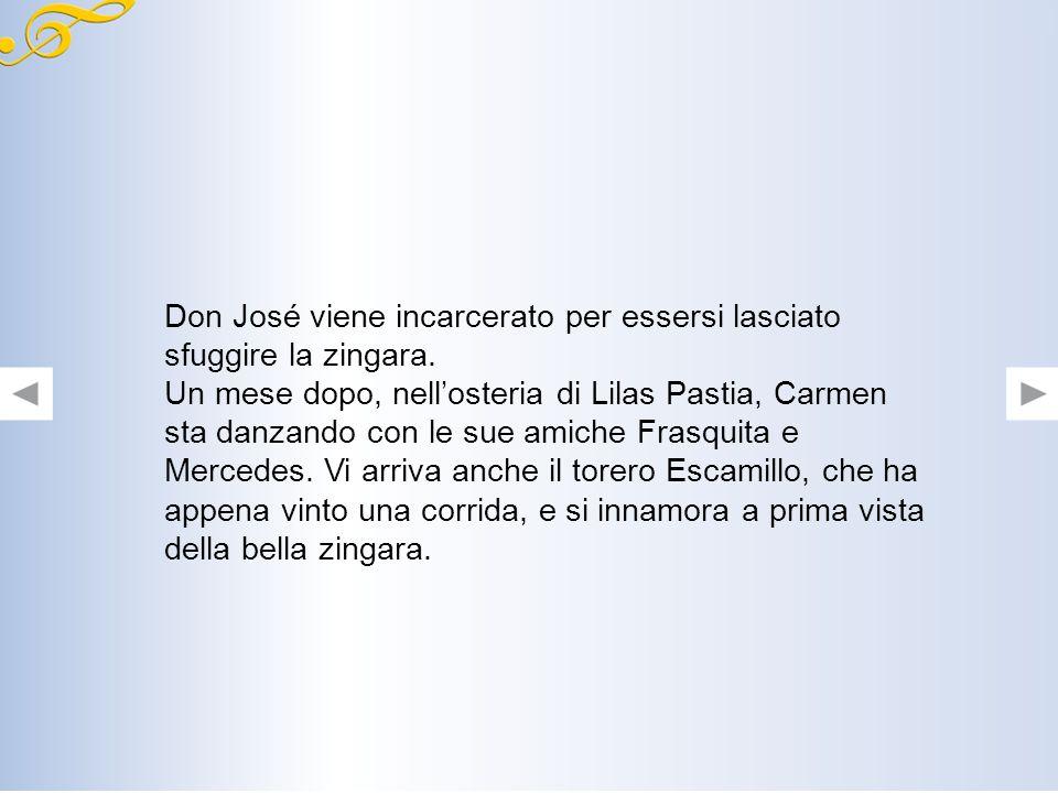 Improvvisamente allinterno della fabbrica si ode uno schiamazzo: Carmen ha accoltellato unoperaia. Per questo viene arrestata e affidata a Don José. T