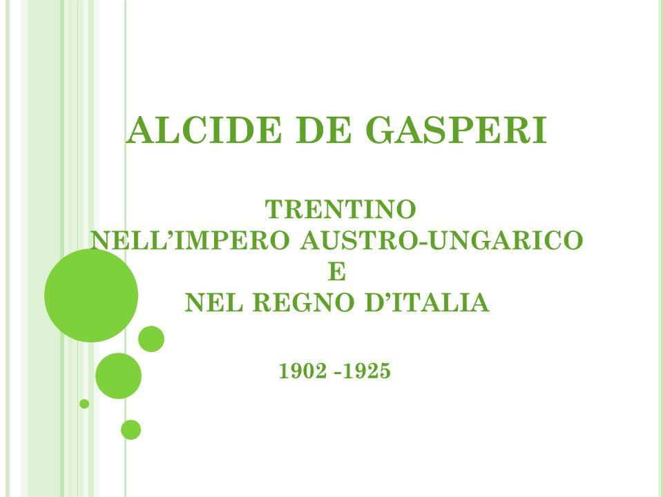 ALCIDE DE GASPERI TRENTINO NELLIMPERO AUSTRO-UNGARICO E NEL REGNO DITALIA 1902 -1925