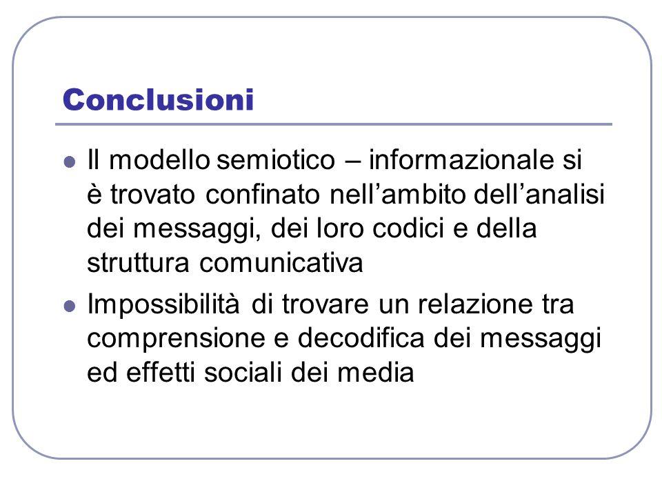 Conclusioni Il modello semiotico – informazionale si è trovato confinato nellambito dellanalisi dei messaggi, dei loro codici e della struttura comuni