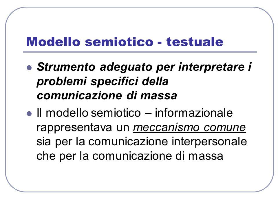 Modello semiotico - testuale Strumento adeguato per interpretare i problemi specifici della comunicazione di massa Il modello semiotico – informaziona