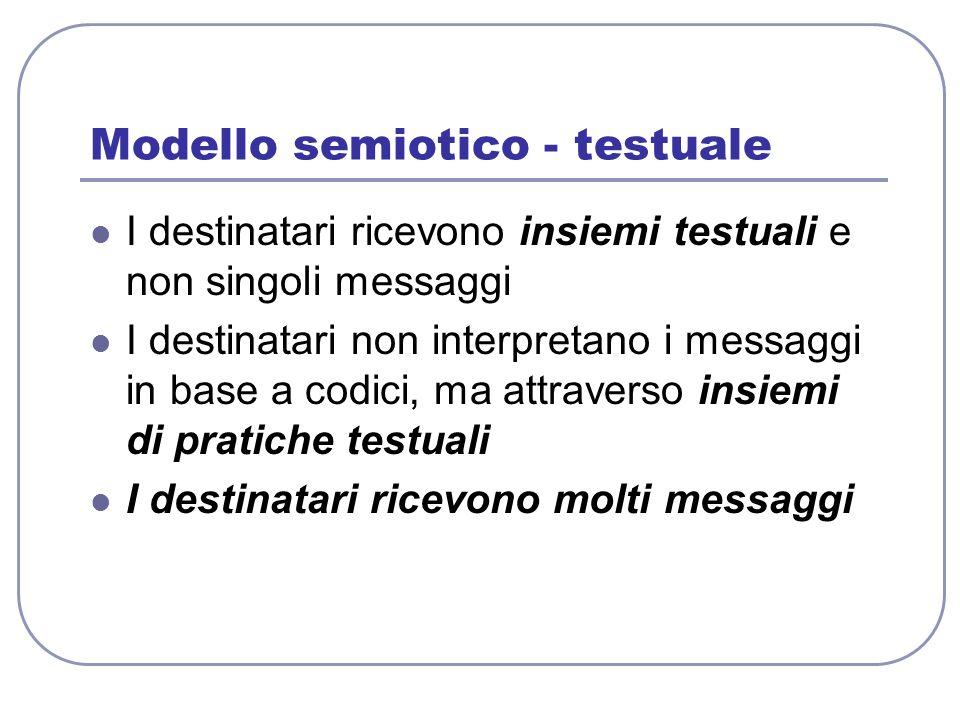 Modello semiotico - testuale I destinatari ricevono insiemi testuali e non singoli messaggi I destinatari non interpretano i messaggi in base a codici