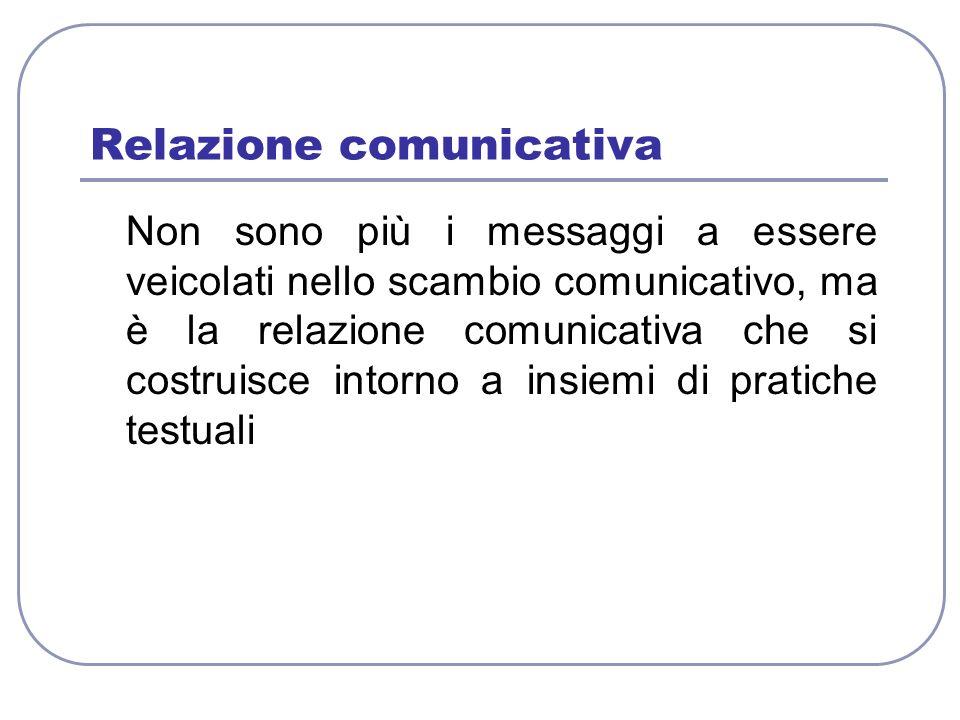 Relazione comunicativa Non sono più i messaggi a essere veicolati nello scambio comunicativo, ma è la relazione comunicativa che si costruisce intorno